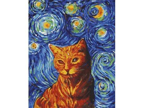 Rudy kot w stylu van Gogha malowanie po numerach