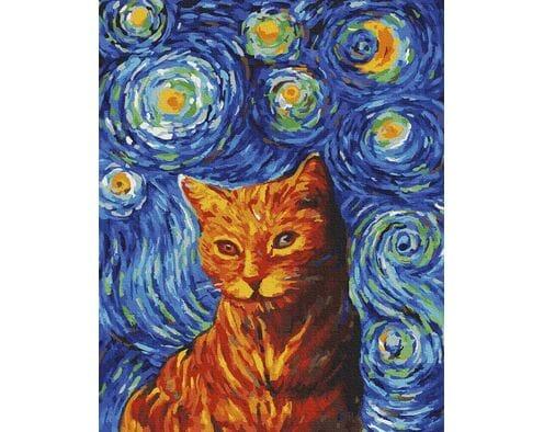 Rudy kot w stylu van Gogha