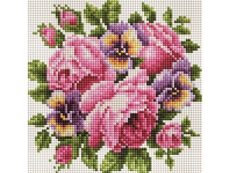 Róże i bratki diamentowa mozaika