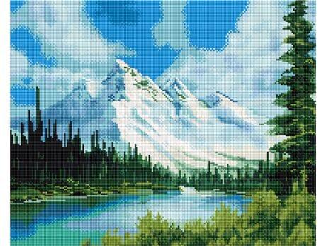 Zaśnieżony krajobraz górski diamentowa mozaika