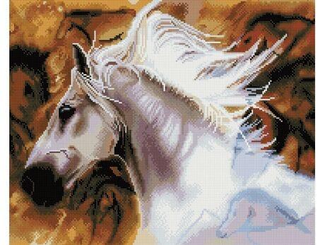 Biały koń diamentowa mozaika