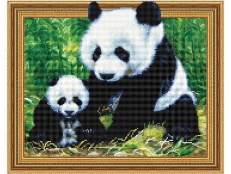 Panda z młodym diamentowa mozaika