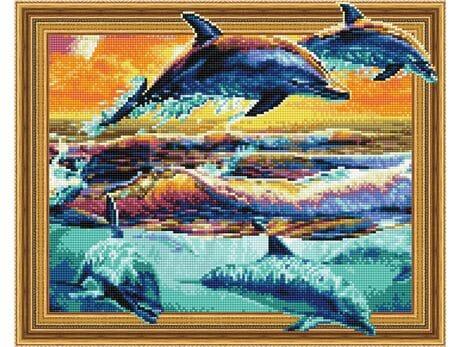 Radosne delfiny diamentowa mozaika
