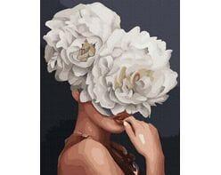 Pretty girl blooming flowers