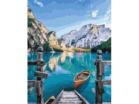 Górskie jezioro malowanie po numerach