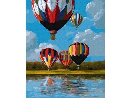 Kolorowe balony nad jeziorem malowanie po numerach
