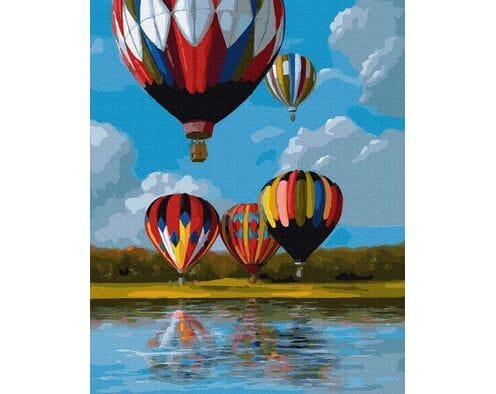 Kolorowe balony nad jeziorem