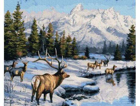 Jelenie zimą malowanie po numerach