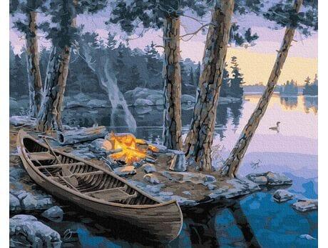 Ognisko nad rzeką malowanie po numerach