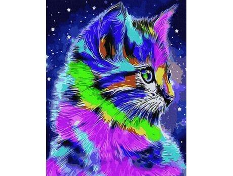 Kolorowy kot malowanie po numerach