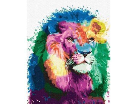 Kolorowy lew malowanie po numerach