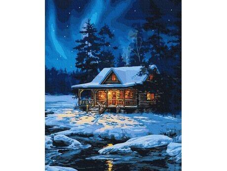 Leśny domek zimą malowanie po numerach