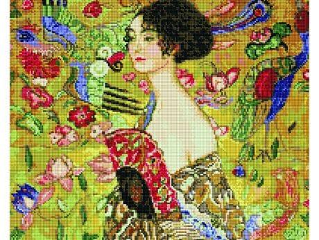 Gustav Klimt. Dama z Wachlarzem diamentowa mozaika