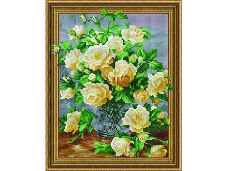 Bukiet białych róż diamentowa mozaika
