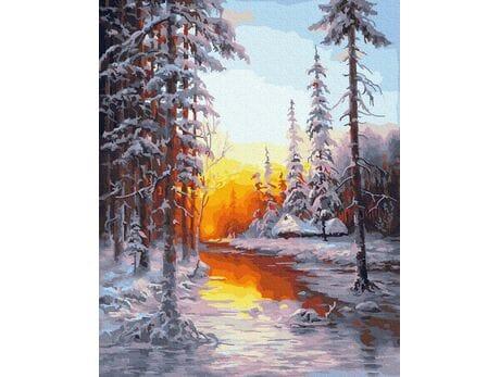 Zimowy las malowanie po numerach