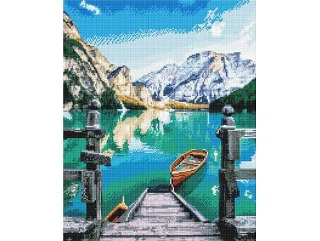 Jezioro w górach diamentowa mozaika