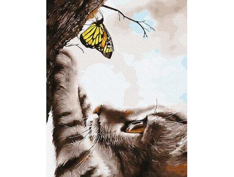 Kotek i motyl malowanie po numerach