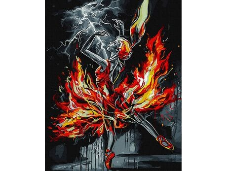 Płonąca baletnica malowanie po numerach