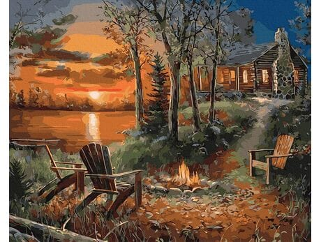 Dom w głębi lasu malowanie po numerach