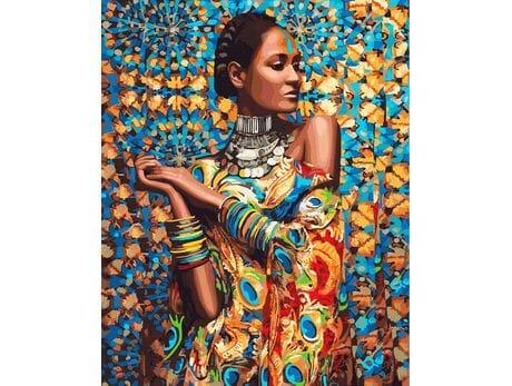 Kobieta w kolorowej sukni malowanie po numerach