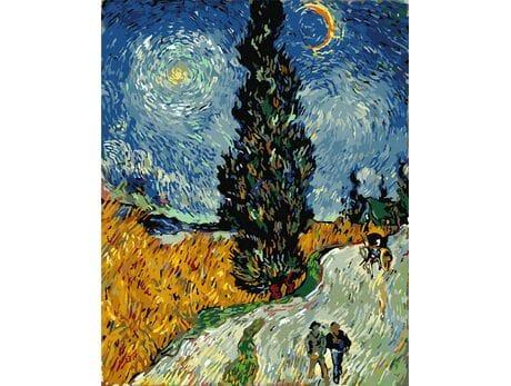 Droga z cyprysami i gwiazdą (Van Gogh) malowanie po numerach