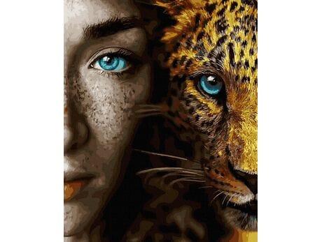 Spojrzenie błękitnych oczu malowanie po numerach