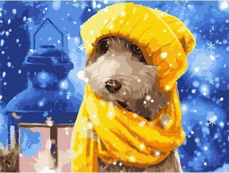 Śnieżny psiak malowanie po numerach