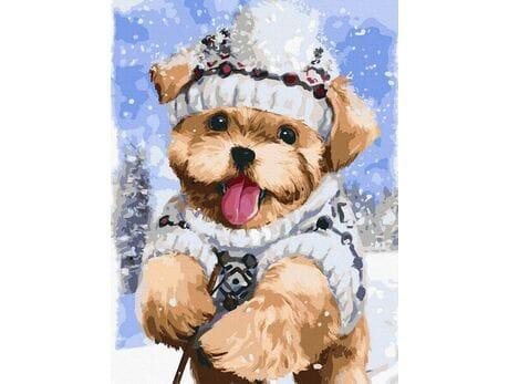 Terrier w śniegu malowanie po numerach
