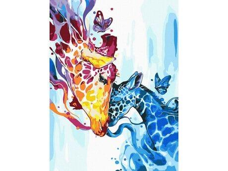 Kolorowy żyrafy malowanie po numerach