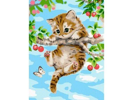 Kotek na gałęzi wiśni malowanie po numerach
