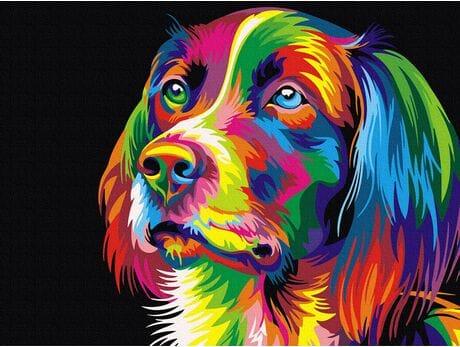 Kolorowa gracja pieska malowanie po numerach