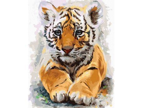 Słodkie tygrysiątko malowanie po numerach