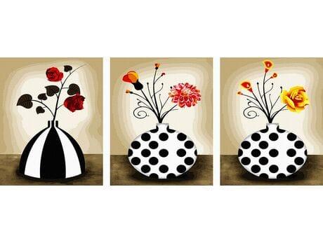 Kwiatki w wazonach malowanie po numerach