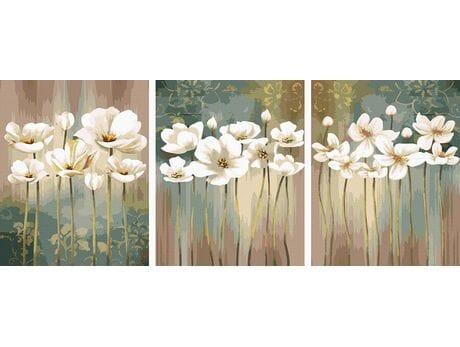 Białe kwiaty malowanie po numerach